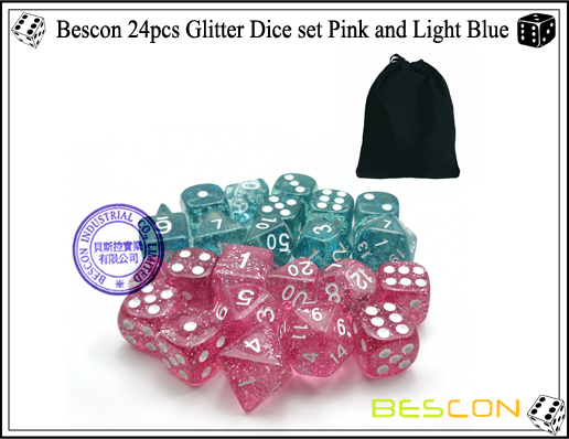 Bescon 24pcs Glitter Dice set Pink and Light Blue-3