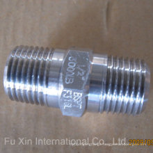 White Zinc Plated Hex Nipple