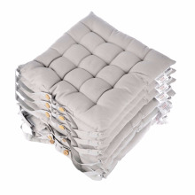 Graue Sitzkissen für Esszimmerstühle, 6er-Set Stuhlkissen aus 100% Baumwolle mit Riemen, 40x40 cm