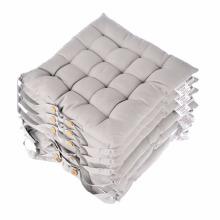 Almofadas de assento cinza para cadeira de jantar, conjunto de 6 100% algodão almofadas de cadeira com correias, 40x40 cm
