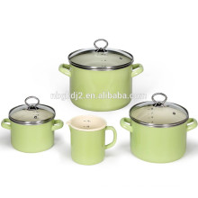 porcelain enamel coated cookware pot and pan sets with good quality food safty