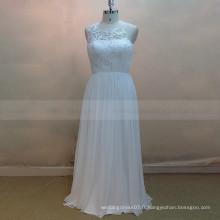 Terse style scoop neck Voir à travers la robe de mariée en mousseline de soie aplatie aplatie plissée