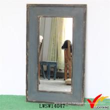 Shabby Chic Antique Blue Handmade Espejo de madera apenada