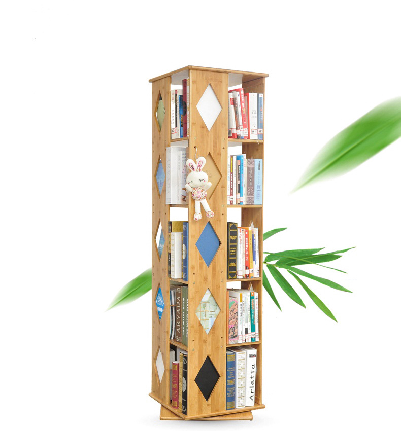 Bamboo Rotative Book Display Shelf