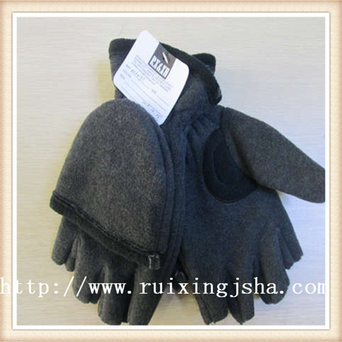 Men fleece flap cut finger gloves