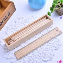 Holz 12er Bleistift mit Federmäppchen und Spitzer