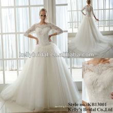 hot ivory three quarter sleeves wedding gowns for sale