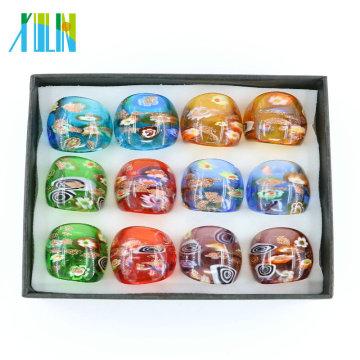 MC1014 Factory Outlet Millefiori or sable Lampwork verre bagues 12 pcs / boîte