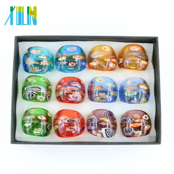 MC1014 Factory Outlet Millefiori Ouro Areia Lampwork Anéis De Vidro 12 pçs / caixa