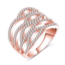 Anillo de dedo ahuecado de oro rosa 18k para mujer (CRI01018)