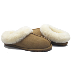women cow suede comfy fluffy soft sole slippers