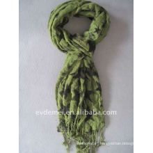 Fashion leaves print bamboo scarf made in china