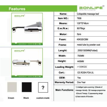 Spiralschraube + Jade-Rollen Automatisches Heben und Senken Einstellbares thermisches Massagebett mit Lifter