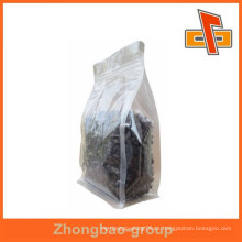 2015 venta caliente laminado resealable fondo plano bolsas de plástico transparente