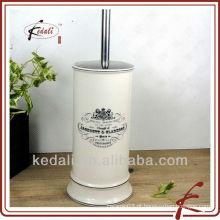Porta escova de porcelana com escova de toalete de aço inoxidável