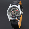winner skeleton design men watch alloy case with leather band
