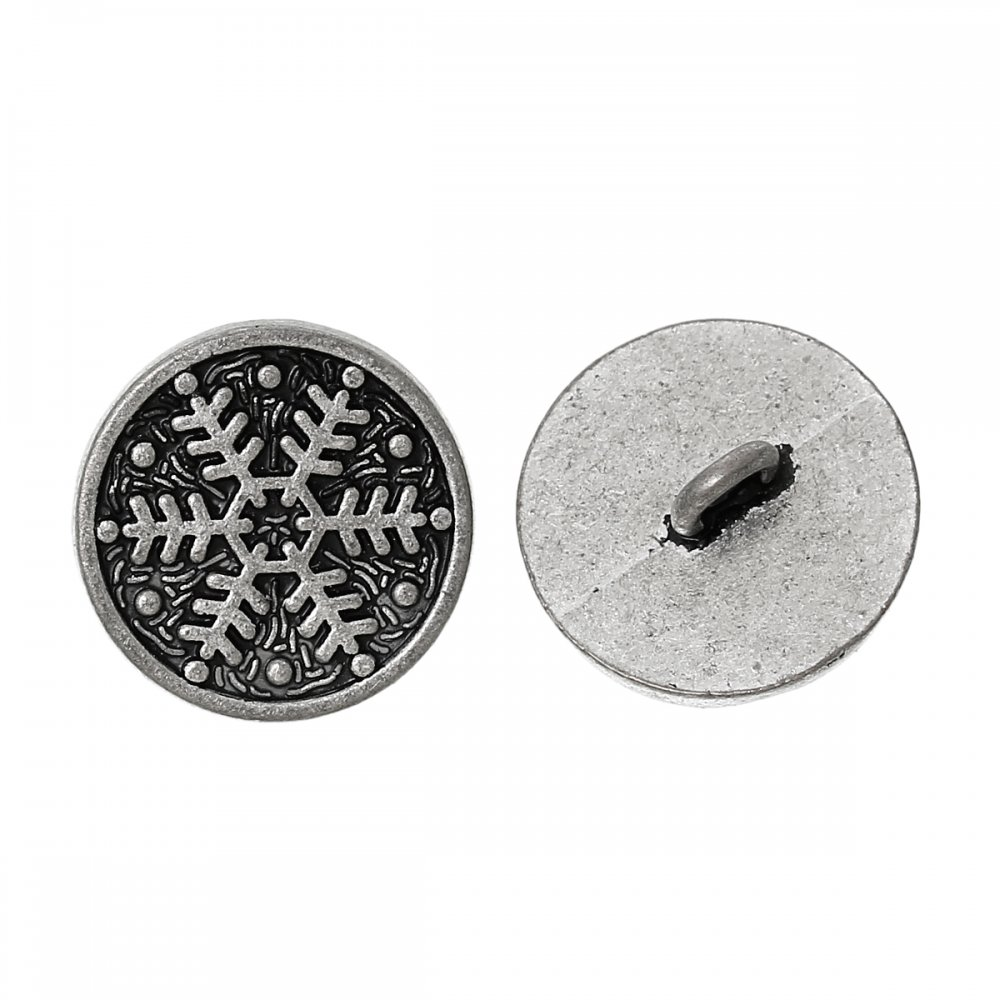 Pack Of 10 Silver Tone Snowflake Metal Button