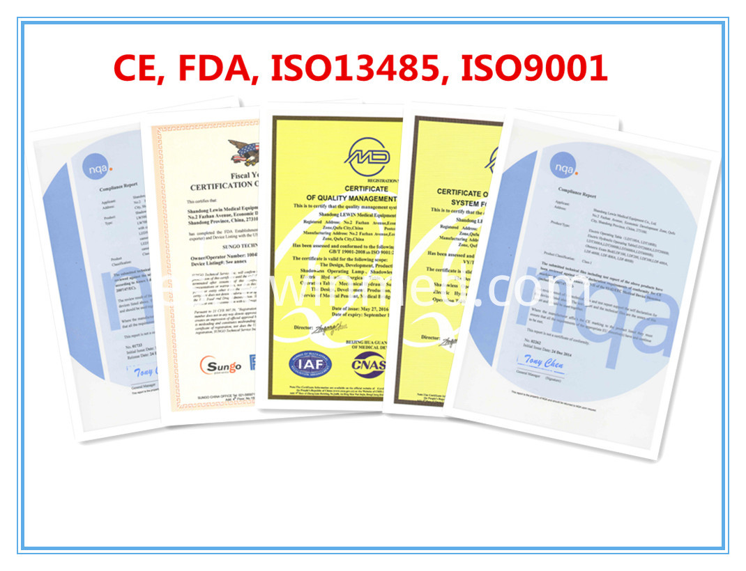 CE, FDA, ISO etc certificates