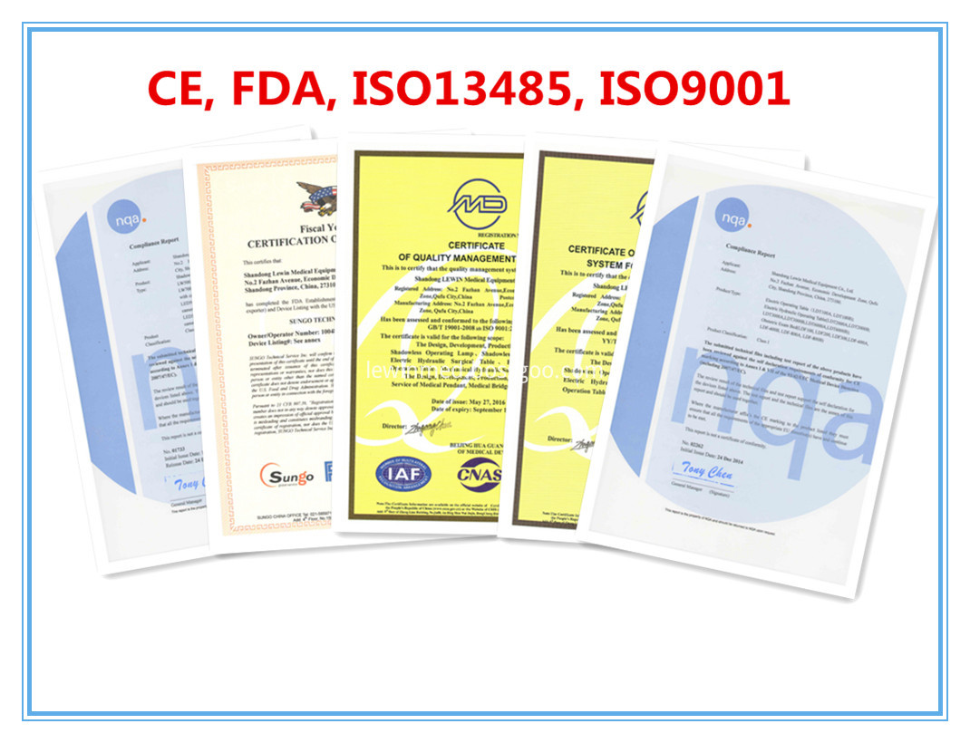 CE, FDA and ISO certificates