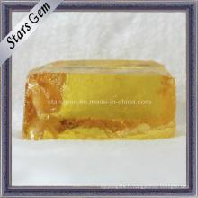 Matière première de gemme zircon cubique jaune foncé