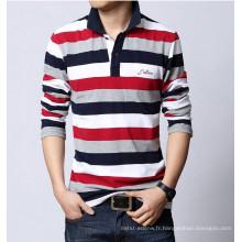 15PKPT10 Hommes bande 100% coton t-shirt polo