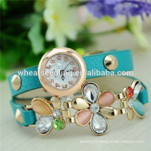 2014 New multilayer leather bracelt plum blossom drills modern watch