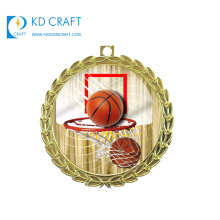 Golden supplier china custom metal colorful enamel printing sports basketball medals for award
