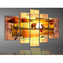 African Art Elephant Oil Painting on Canvas for Home Decor (AR-091)