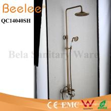 Ensemble de douche Antique en cuivre 3 fonctions Dule Céramique poignée salle de bain pluie robinet avec Divertor