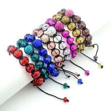Multi cor jóias atacado shamballa pulseira de cristal