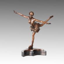 Statue sportive Statue de patinage artistique Bronze Sculpture TPE-707