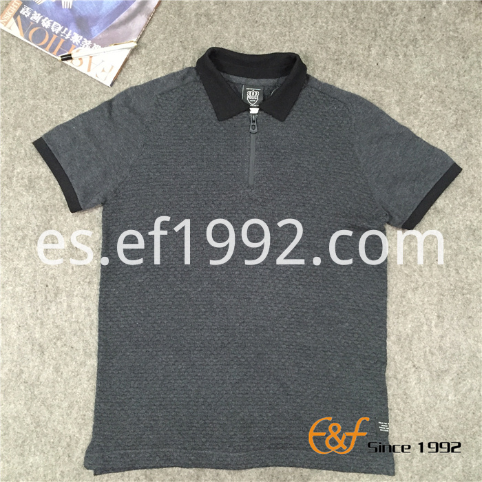 Polo Collar Short Sleeves Men Sweater with Zipper