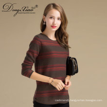 Autumn Long Sleeves Strip Ribbed Wool Cashmere Knitwear Woman Sweater