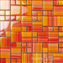 Sharp Orange Color Hand Painting Glass Mosaic