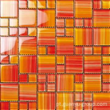 Sharp Orange Color Hand Painting Mosaico de vidro