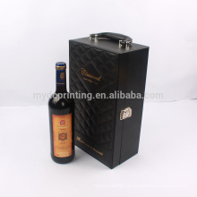 Caja de cuero de empaquetado de la PU del regalo portátil del vino de la manija