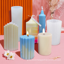 Festival Decoration Cake Making Tool Homemade Cylinder Candles Mould 3D Silicone Pillar Candle Mold
