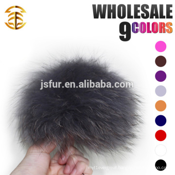 Grey Large Pom Poms On Beanie Hat Real Animal Fluffy Big Size 19cm Raccoon Fur Ball Beanies Pompom