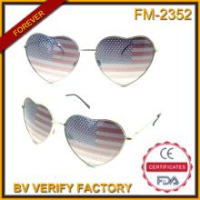 Venta caliente FM-2352 encantadora mujer estilo Briars bandera americana Metal gafas de sol