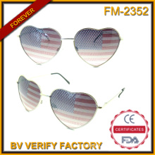 FM-2352 Hot Sale Charming Women Style Heartshaped American Flag Metal Sunglasses