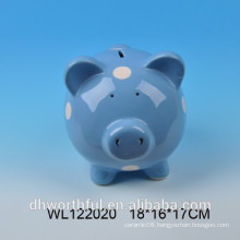 7 inches ceramic wholesale piggy bank with white dot