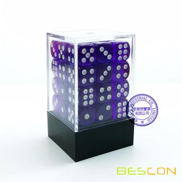 Bescon 12mm 6 Sided Dice 36 in Brick Box, 12mm Six Sided Die (36) Block of Dice, Translucent Purple with White Pips