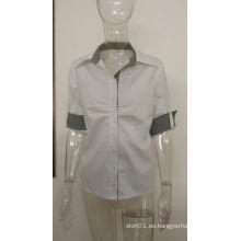2016 la última mujer del diseño de la manera camisa de algodón formal del trabajo del negocio