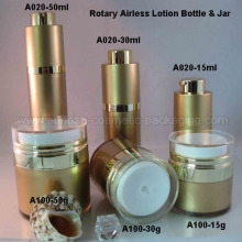 Gold Runde Rotary Airless Presse Lotion Flasche Glas
