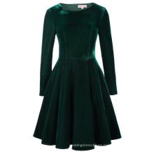 Belle Poque Retro Vintage invierno de manga larga cuello del equipo de color verde oscuro vestido de terciopelo Swing BP000358-1