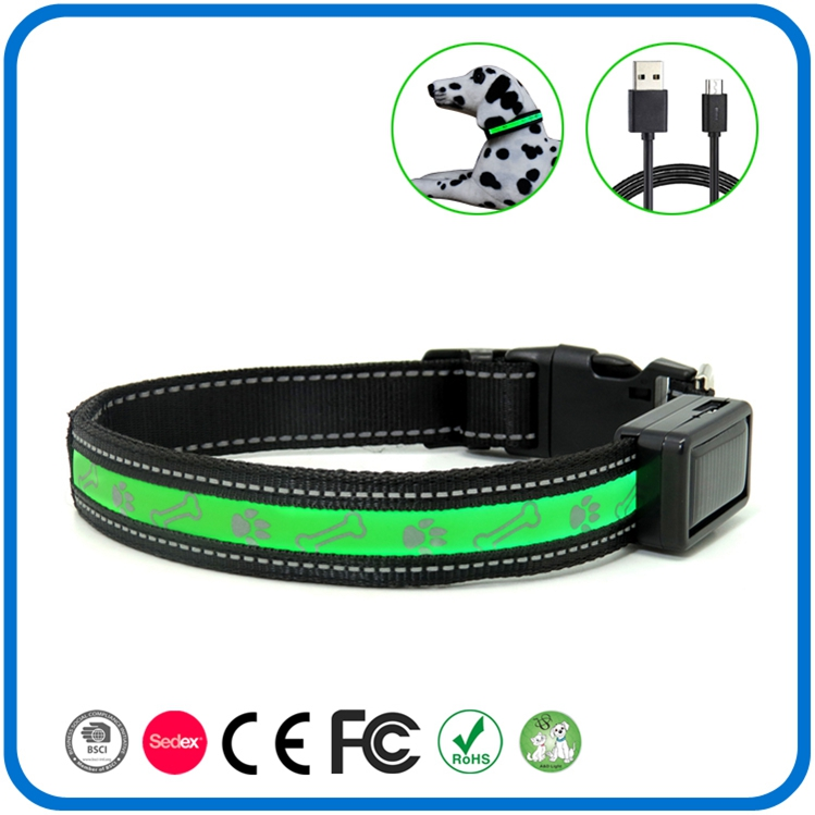 Rechargeable Light Up Flashing Dog Collar Glow In The Dark