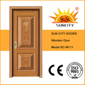 Porte principale en bois de placage de teck d'intérieur de conception américaine de sécurité (SC-W111)