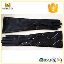 Classic soft lambskin gloves women winter long arm leather gloves