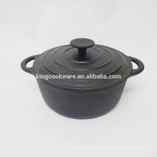 23cm Redondo revestimiento negro de hierro fundido cocotte / cazuela / olla / utensilios de cocina