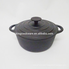 23cm Round black coating cast iron cocotte/casserole/pot/cookware
